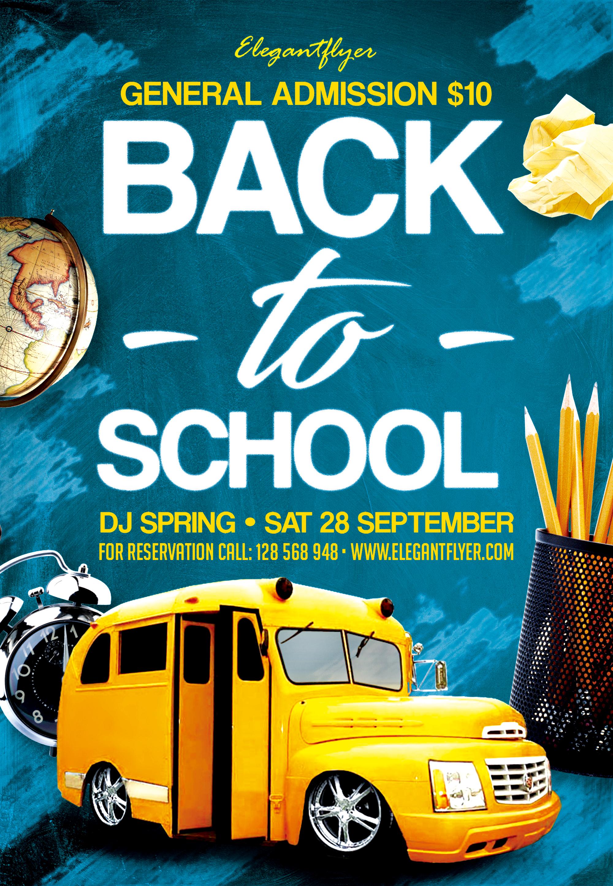 School Poster Back To School Flyer Back To School