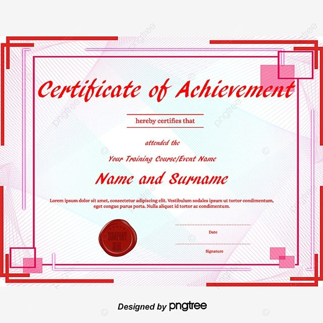 Certificate of Achievement Award Template  Education World