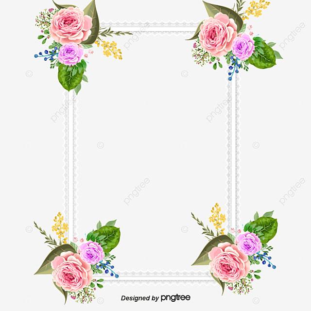 请柬装潢元素 粉花 边框 浪漫 png 和 矢量
