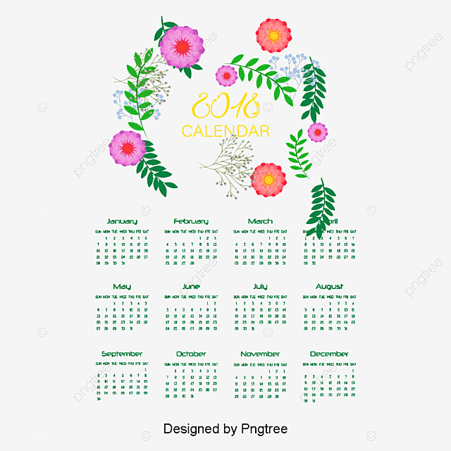 Romantic hand-painted flower calendar template, Vector Material ...