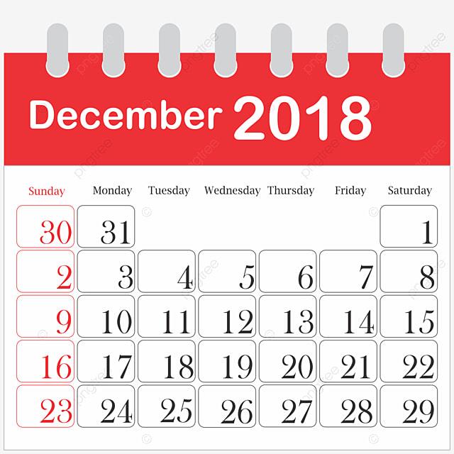 カレンダー 2018年12月
