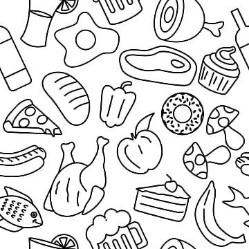 食品涂鸦无缝模式矢量图线艺术风格轮廓绘图在黑色和白色的颜色动画片图片