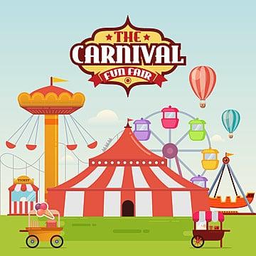 旋转木马和过山车向量插图 马戏团卡通游乐园娱乐 吸引力 背景 气球图片
