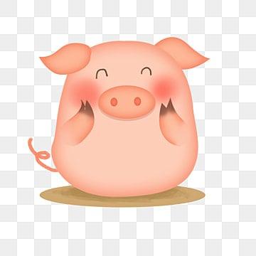 手绘可爱宠物猪插图元素