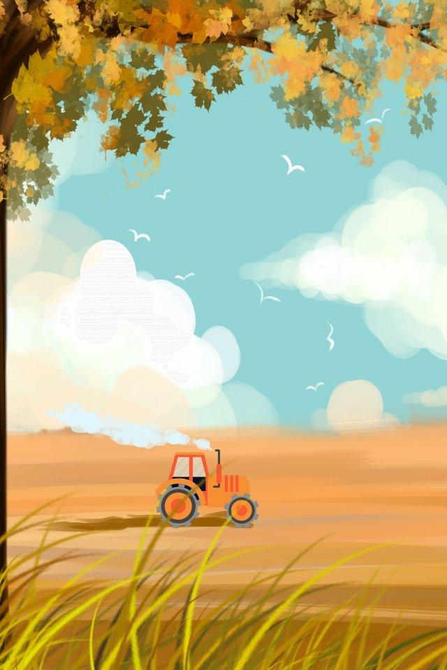 秋天的风景手绘插画 秋天 秋季 枫树插画 原野 枫树png和psd