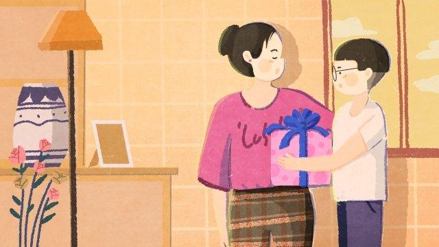 母親節兒子送禮物插畫banner背景 插畫 手繪 母親節 母親 媽媽 兒子圖片