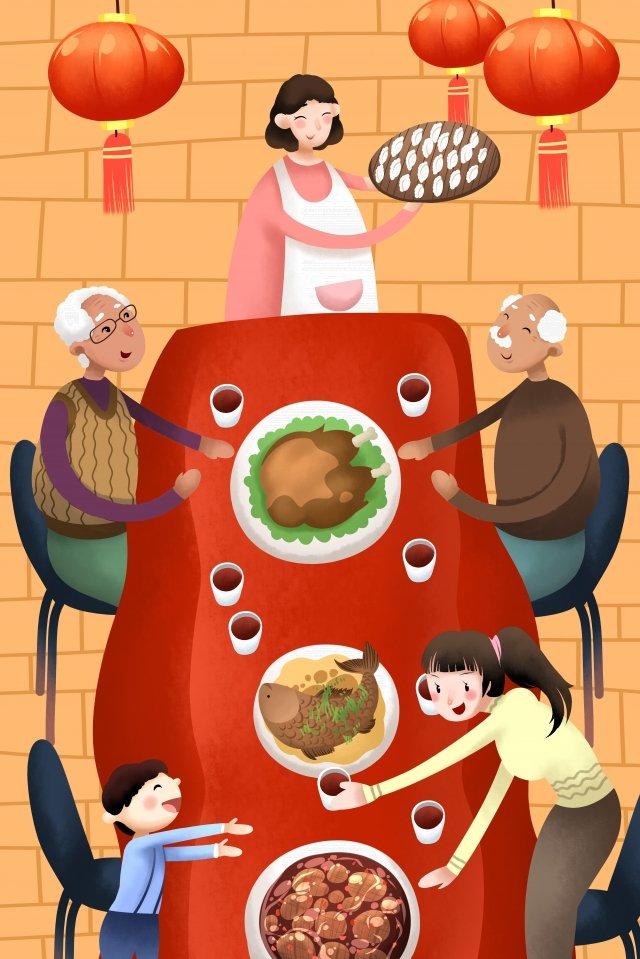 猪年除夕春节全家福欢乐温馨中国红团圆 春节 团圆 全家福