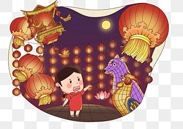 中秋节 元宵节 逛花灯 花灯大会手绘小女孩中秋节元宵节逛花灯插画