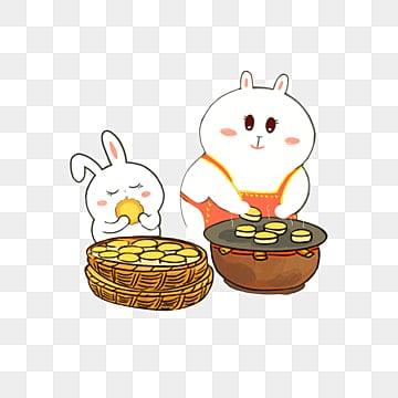 中秋 中秋节 八月十五 月饼摊卖月饼 q版小动物 褐色 png和psd