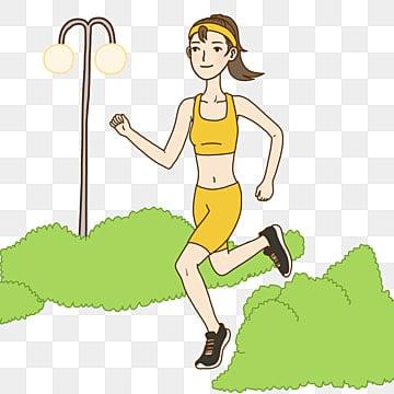 跑步少女 日系手绘插画跑步 运动少女运动健身在公园跑步的女孩手绘图片