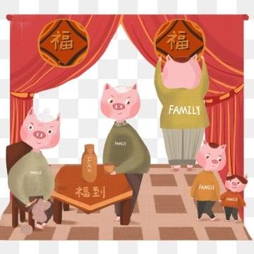 春节 春节 猪年 一家团圆手绘 一家团圆 春节猪年一家团圆手绘图 png