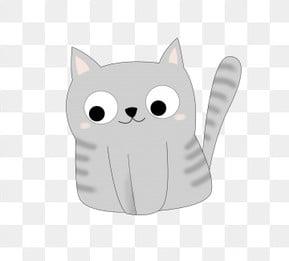 灰色 灰色小猫 小猫萌宠 可爱猫猫 插画 卡通猫咪 小猫萌宠 png和psd