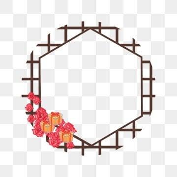 复古边框 玫瑰边框 玫瑰花 红玫瑰复古边框 手绘多边形边框 黄色礼物