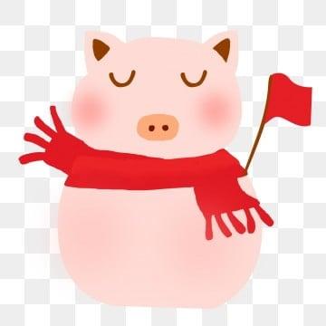 粉色 可爱 小猪 围巾旗帜 眼睛 2019 png和psd