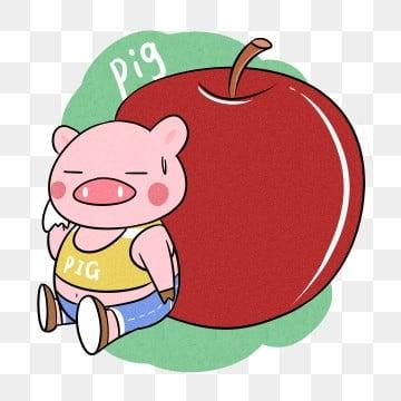 小猪 苹果 动物 卡通手绘 动物 动物手绘 png和psd