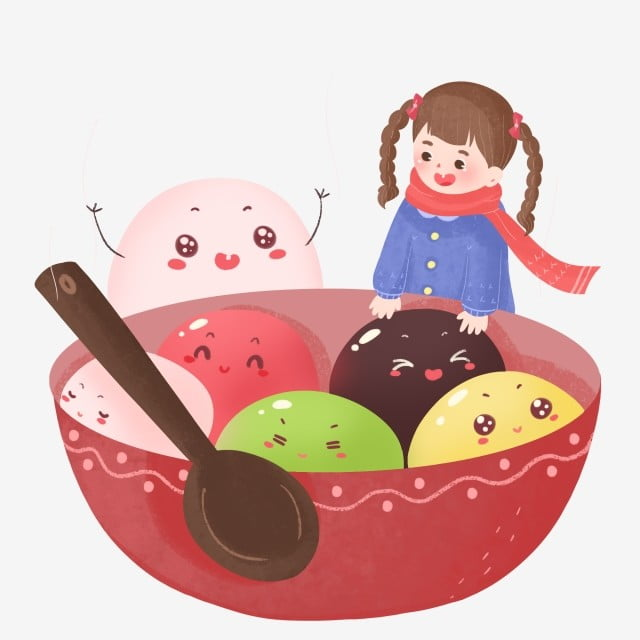 元宵节 元宵 汤圆 传统节日 卡通可爱元宵节元宵汤圆插画 汤圆 勺子 p图片
