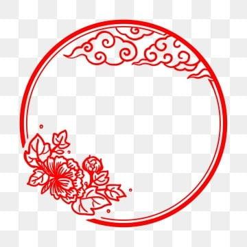 剪纸风海报边框 新年 春节 中国风剪纸中国风剪纸 剪纸风花朵祥云
