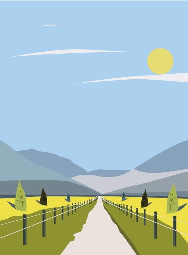 h5 唯美 乡村 田园风景插画 手绘商业插画 乡村 云朵 png 和 矢量