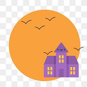 万圣节边框 房屋 简约通用 橙色简约通用 紫色古堡 卡通可爱 png和
