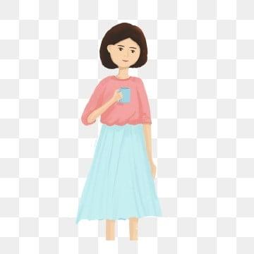 卡通可爱喝水的小女孩可商用元素 卡通 可爱插画设计 可爱 卡通可爱图片