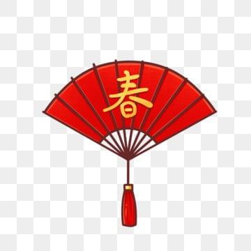 手绘卡通中国传统春节新春扇子元素 2019 猪年手绘 新年 2019 png和
