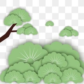 微立体纸片风剪纸风绿色清新树叶草丛 微立体 剪纸风剪纸风 微立体
