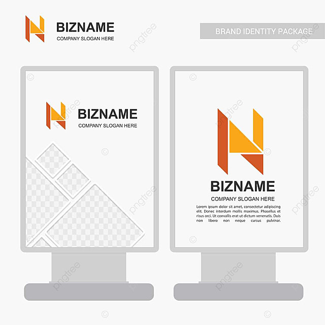 公司广告横幅设计和带有n标志的橙色主题向量卡 高级模板