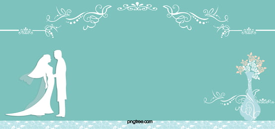 Blue Wedding Invitation Card Vector Background Bride And Groom Bouquet