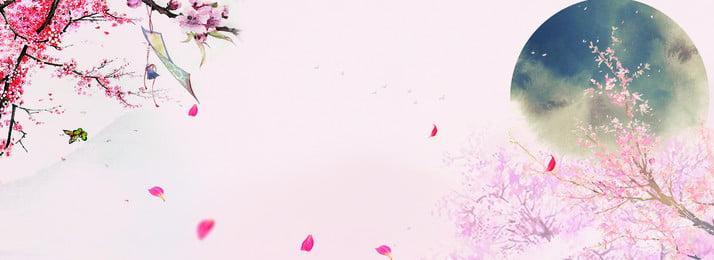 古風唯美清新海報背景 古風 桃花 手繪 漂浮素材 古風 花瓣 背景圖