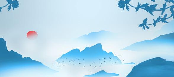 蓝色古典唯美中国风banner海报背景 蓝色 古典 唯美 蓝色古典唯美中国