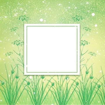 绿色手绘植物季节宣传图 草地 植物边框 草地 绿色调渐变 banner背景