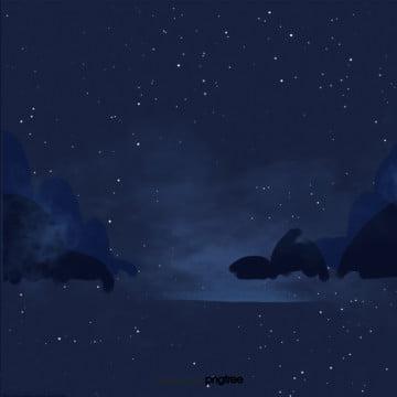 卡通星空夜晚场景 夜晚 场景 黑夜背景图图片