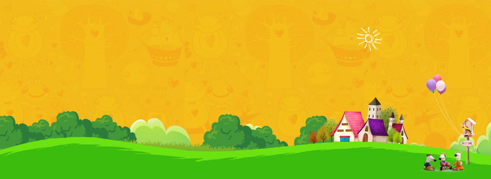 儿童banner主题背景 黄色背景 banner背景 儿童 卡通 草坪 老鼠, 背景