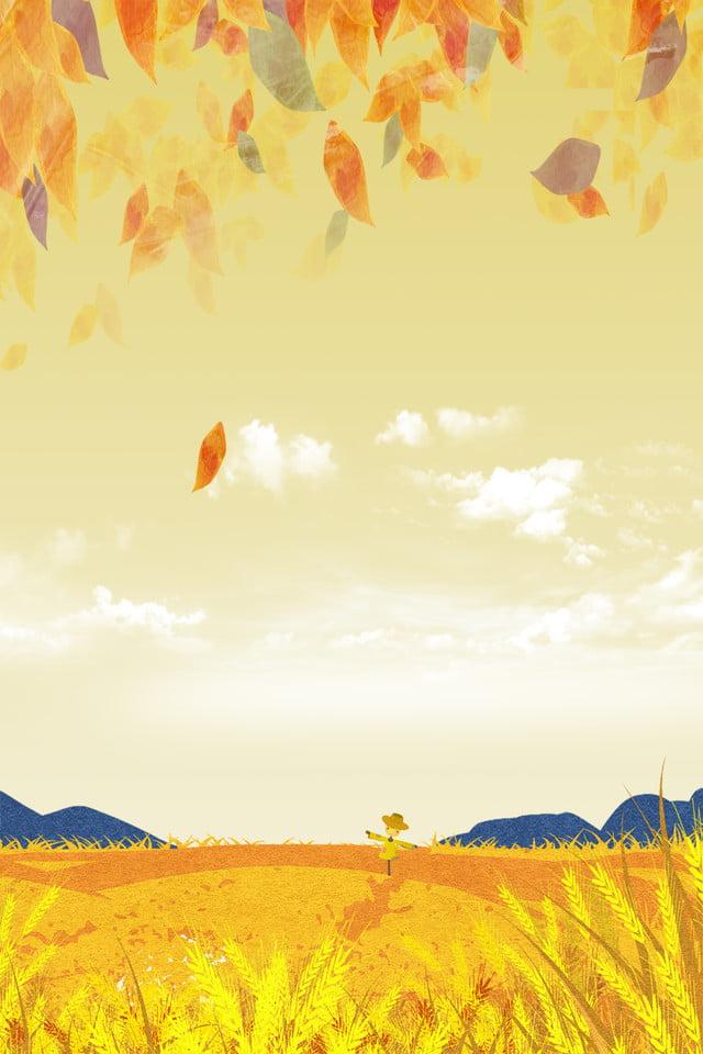 秋分节气创意卡通稻田麦子景色海报 秋分 传统节气 二十四节气 手绘
