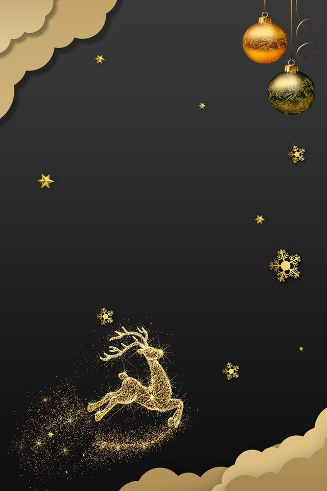 圣诞节折纸风金色麋鹿海报 圣诞节 圣诞贺卡 简约
