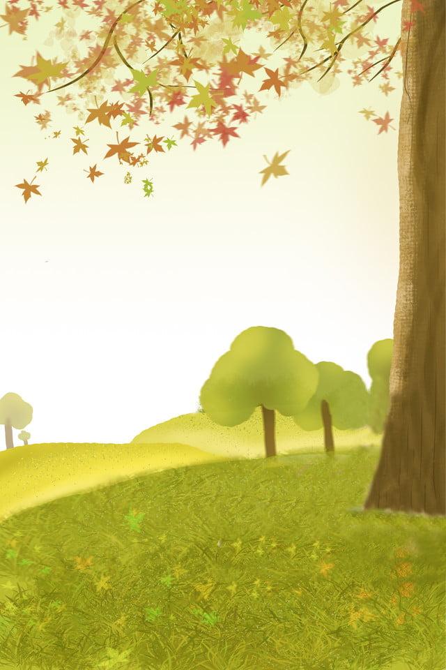 手绘户外风景画 手绘 简约 户外 树木 郊外 手绘户外风景画, 背景图