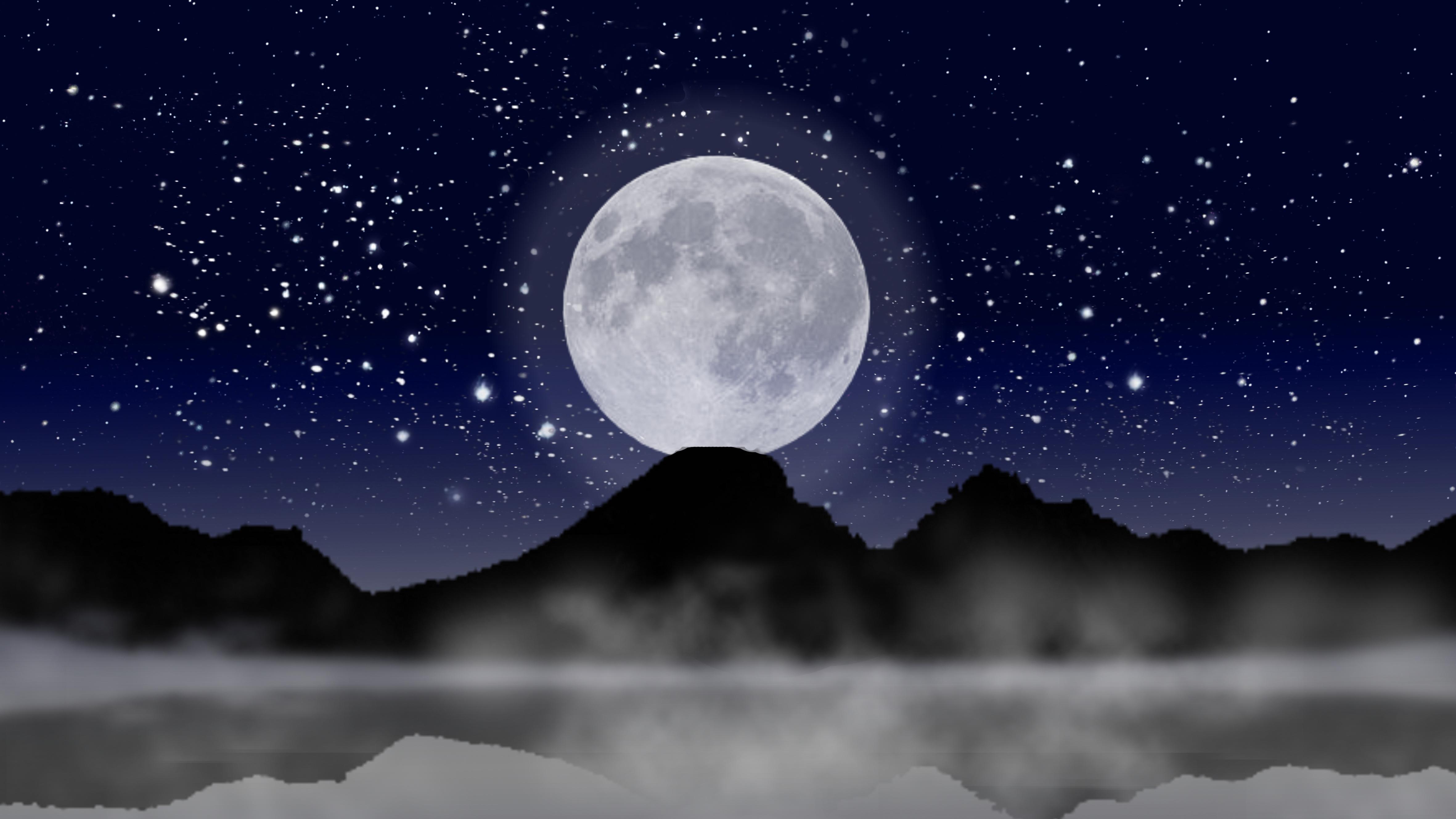 Картинка луна больше рядом море красиво того, чтобы