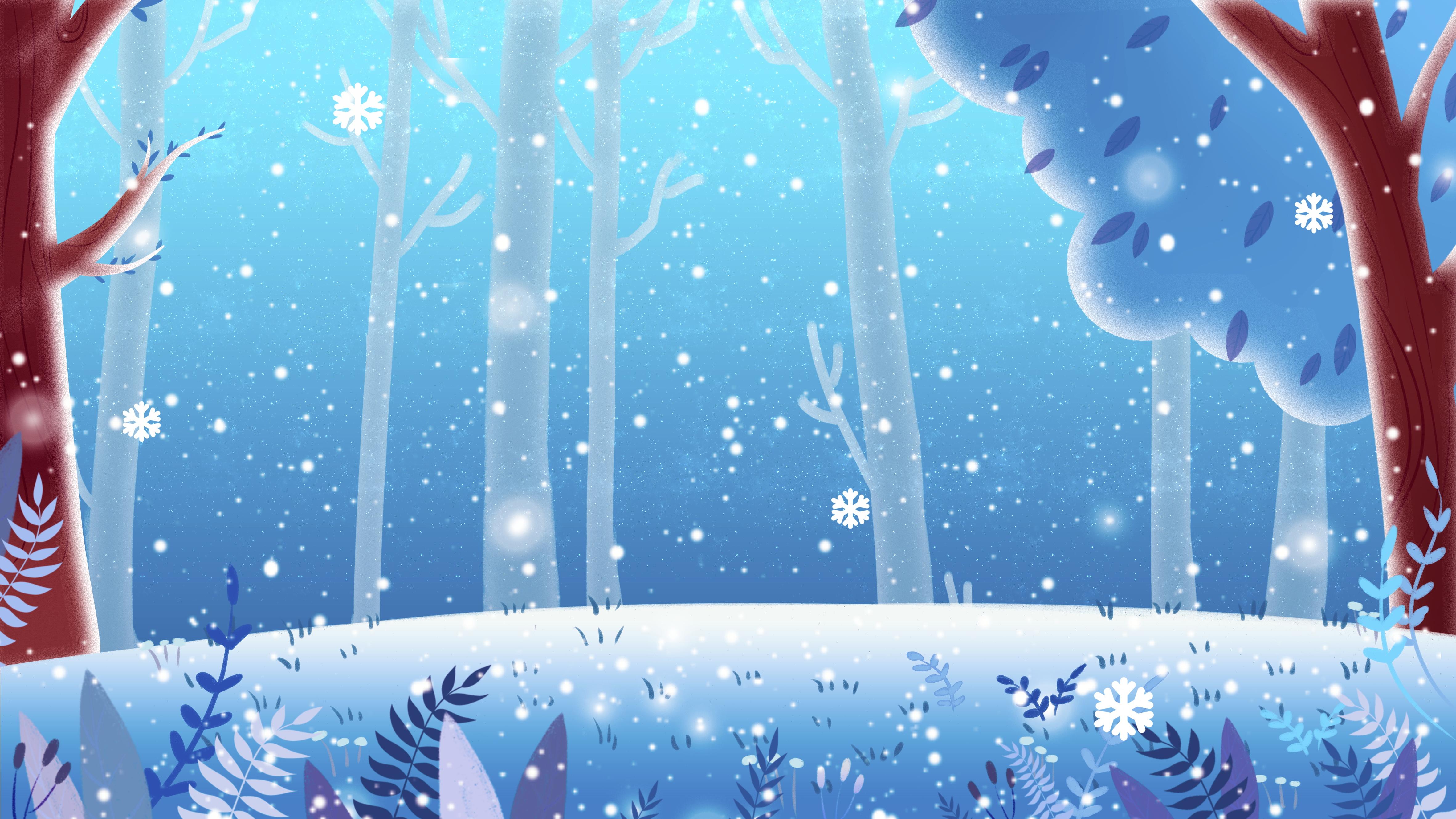 Картинка зимний лес мультяшная