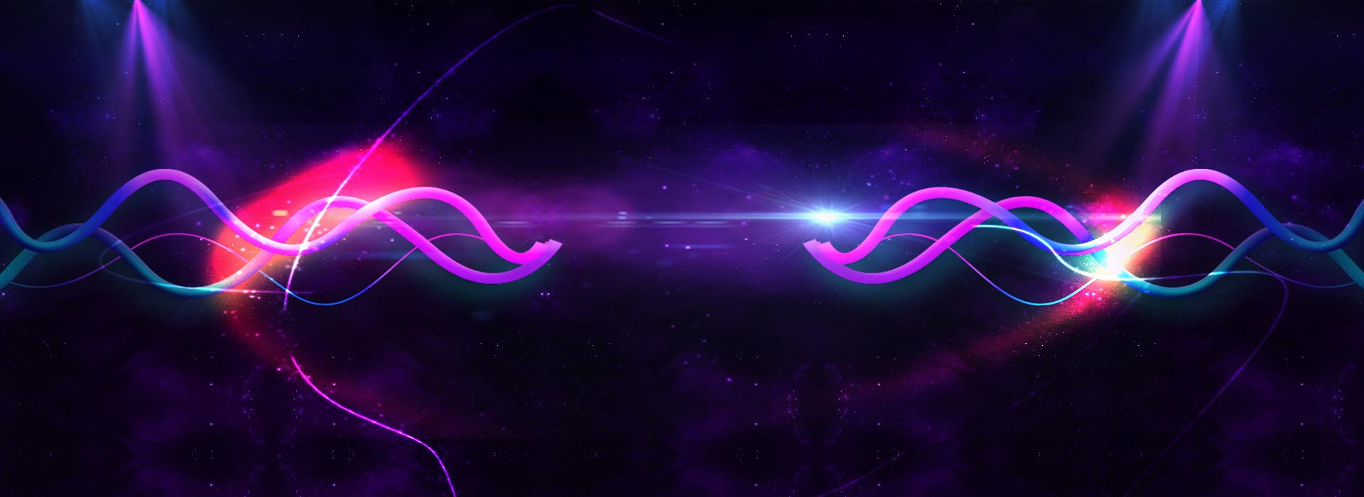 Faixa de néon violeta azul banner dinâmico fundo Curva