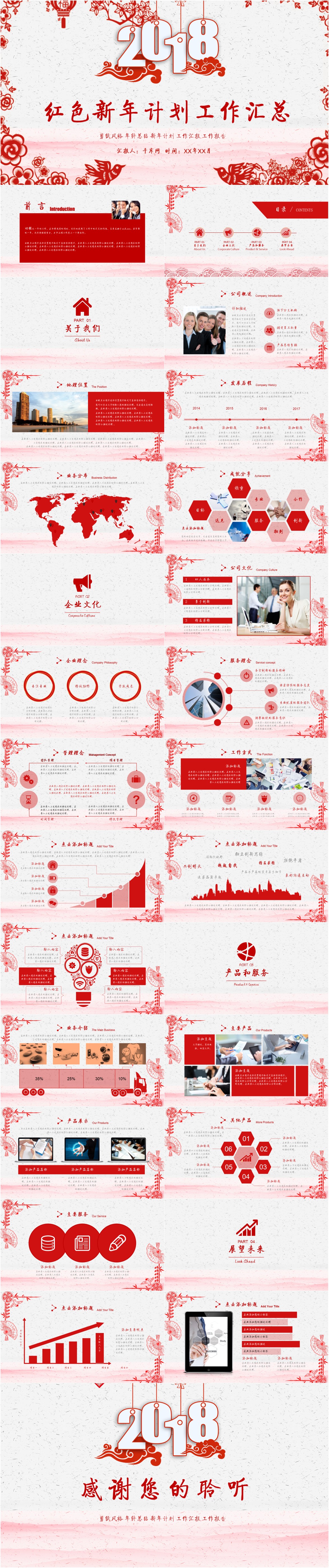Marvelous Paper Cutting Red New Year Plan Work Summary PPT Template