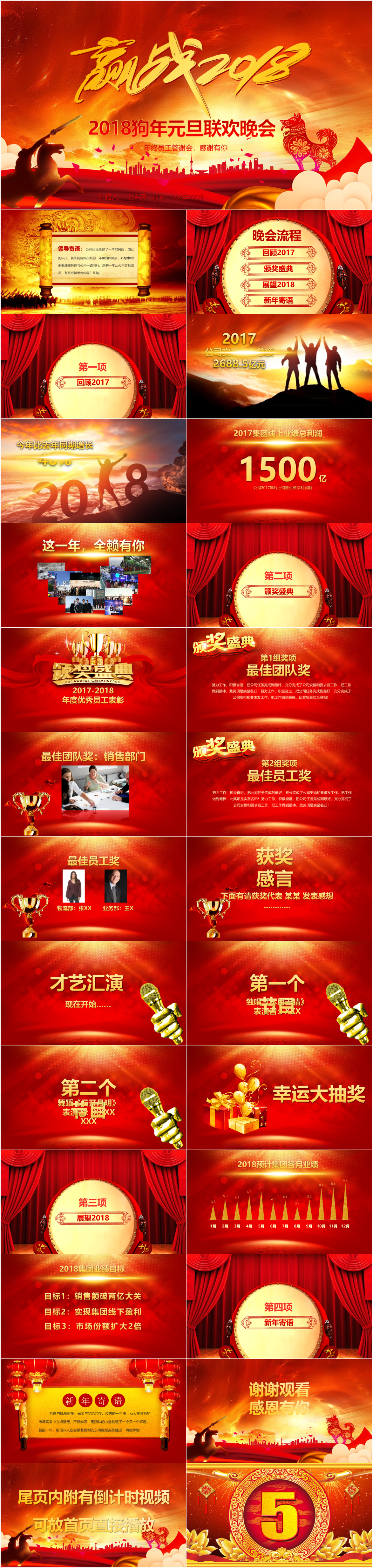 to win the new year gala dog ppt template