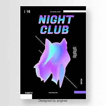 gradient night club party poster with creative fonts Fonts