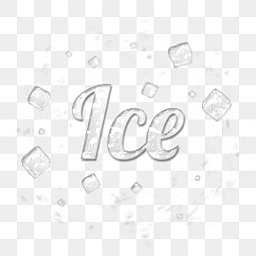 Volumetric glossy inscription Ice on the background of ice cubes Fonts