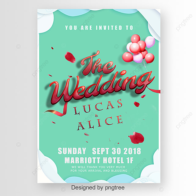 Mordern Wedding Invitation With Balloon And Flower Art Font