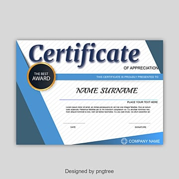 appreciation certificate png images vectors and psd files free