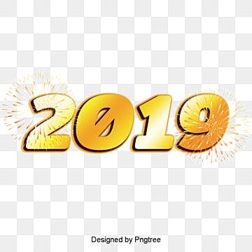 ดอกไม้ไฟศิลปะสร้างสรรค์สามมิติ 2019 สีทองคำศิลปะคำ  คัดลอกรูปแบบการออกแบบ  ปี PNG และ PSD