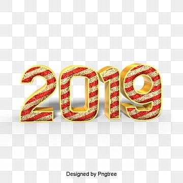 คำศิลปะริบบิ้นสีทองหรูหรา 2019 สีทองหรูหราปีใหม่ปีหมู  นับถอยหลัง  สีแดง PNG และ PSD