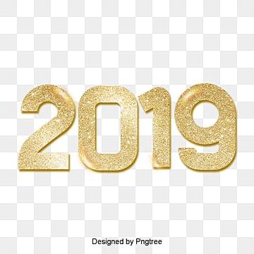 ปีหมูทอง 2019 ดิจิตอลแสงของผงทองหรูหรานับถอยหลัง PNG และ PSD