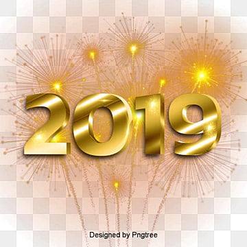 ปีใหม่ 2019 สีทองย่างมีความสุข  นำทางสู่ปีใหม่  ที่มีชีวิตชีวา2019 PNG และ PSD
