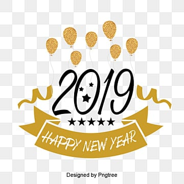 happy fashion cartoon words for new year 2019 Fonts